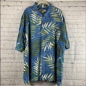 3XL Blue Hawaiian Shirt with Palm Leaves